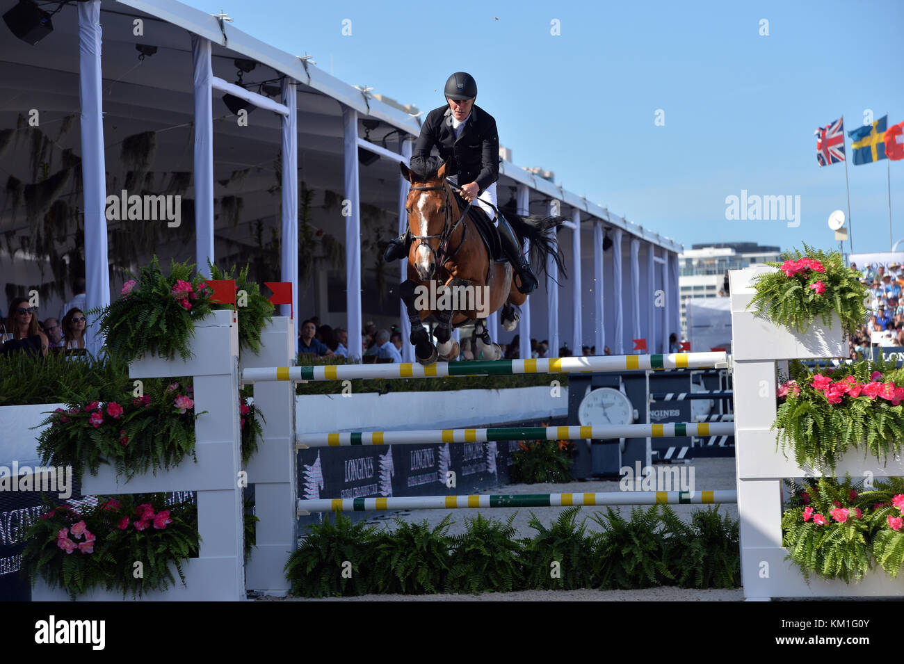 MIAMI BEACH, FL - APRIL 09: Roger Yves Bost at the Longines Global Champions Tour stop in Miami Beach on April 9, - Stock Image