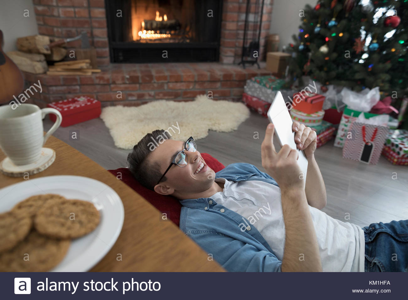 Person Relaxing Fireplace Watching Stock Photos & Person