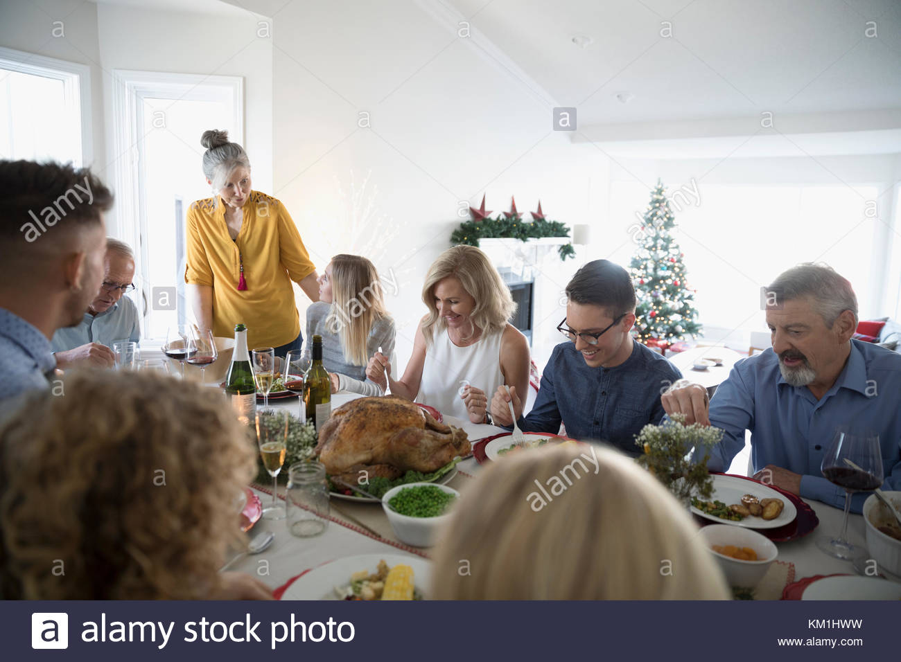 Multi-generation family enjoying turkey Christmas dinner at table - Stock Image