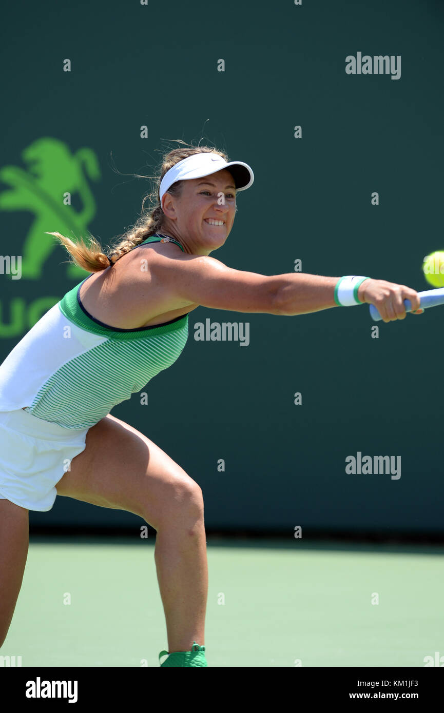 KEY BISCAYNE, FL - APRIL 02: Victoria Azarenka of Belarus defeats Svetlana Kuznetsova of Russia in the womens final - Stock Image