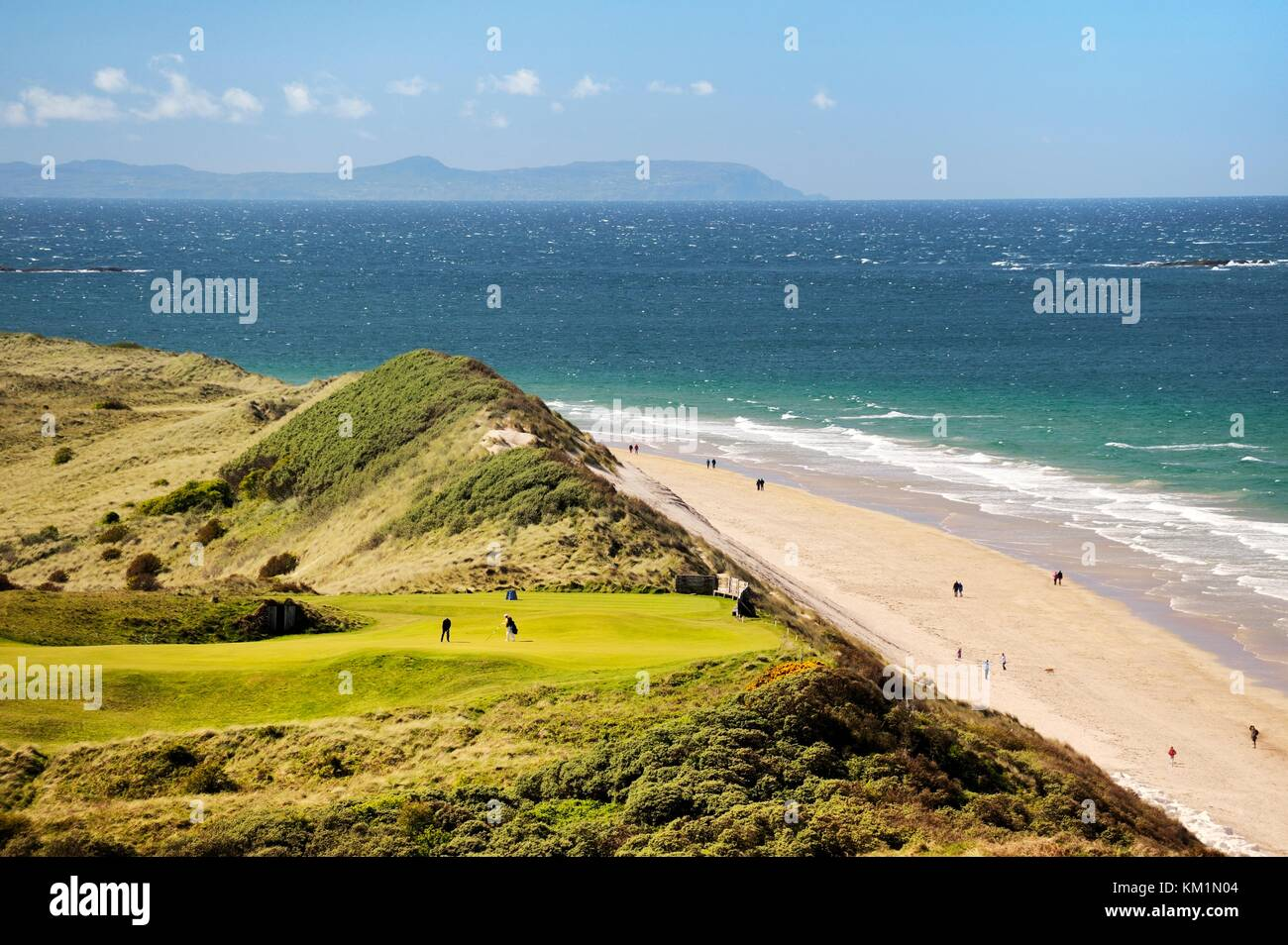 Royal Portrush Golf Club, Northern Ireland UK. The 5th hole of the Dunluce Links championship course above the White - Stock Image