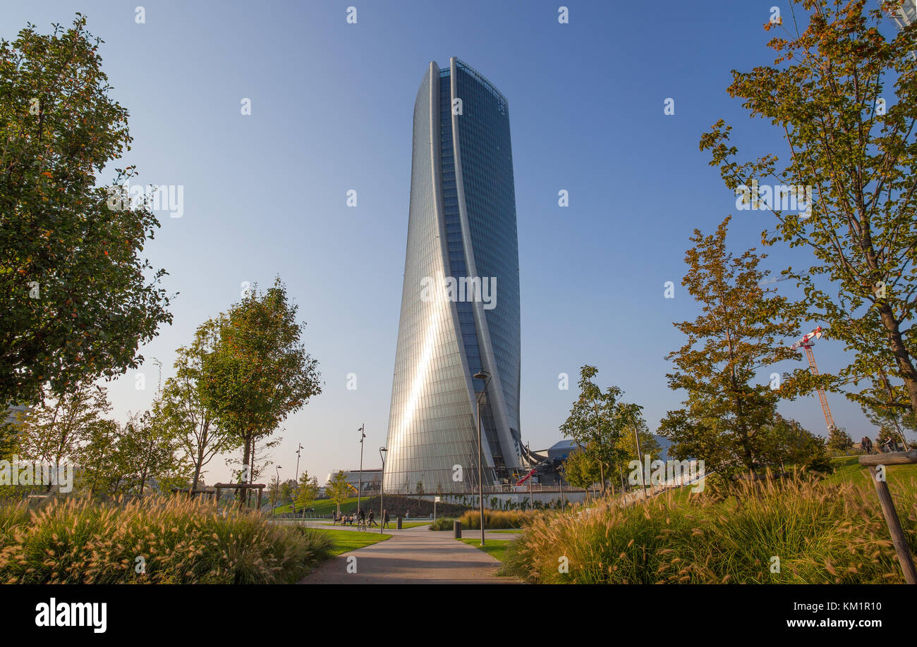 """MILAN, ITALY, OCTOBER 13, 2017 - Hadid Tower in """"City Life"""" complex in 3 Torri Milan place, modern buildings and Stock Photo"""