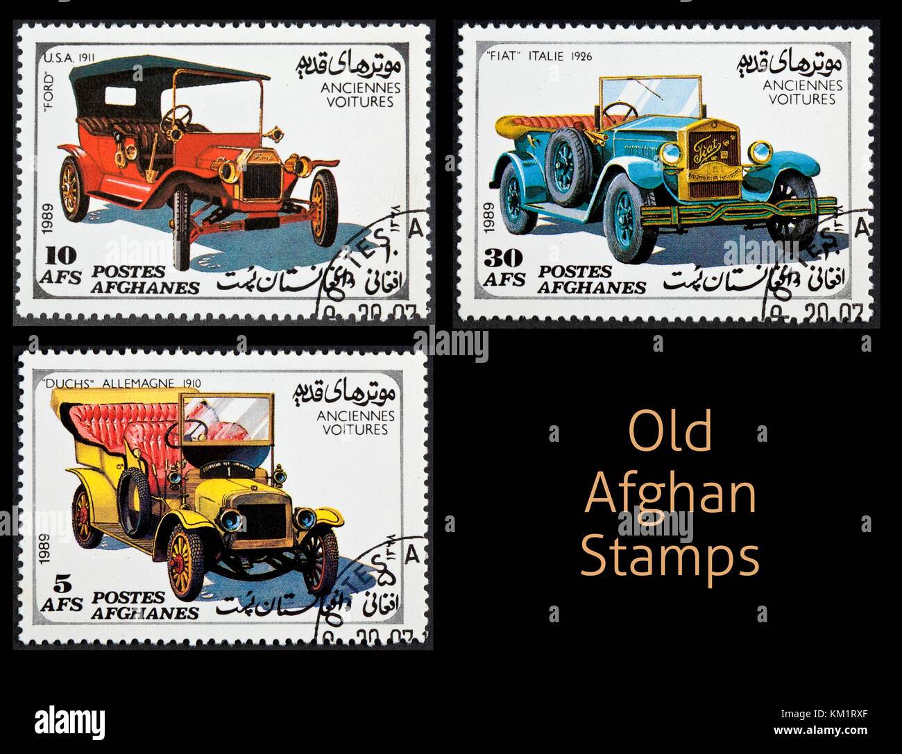Afghan - CIRCA 1989: A series of three stamps used on older cars of ...