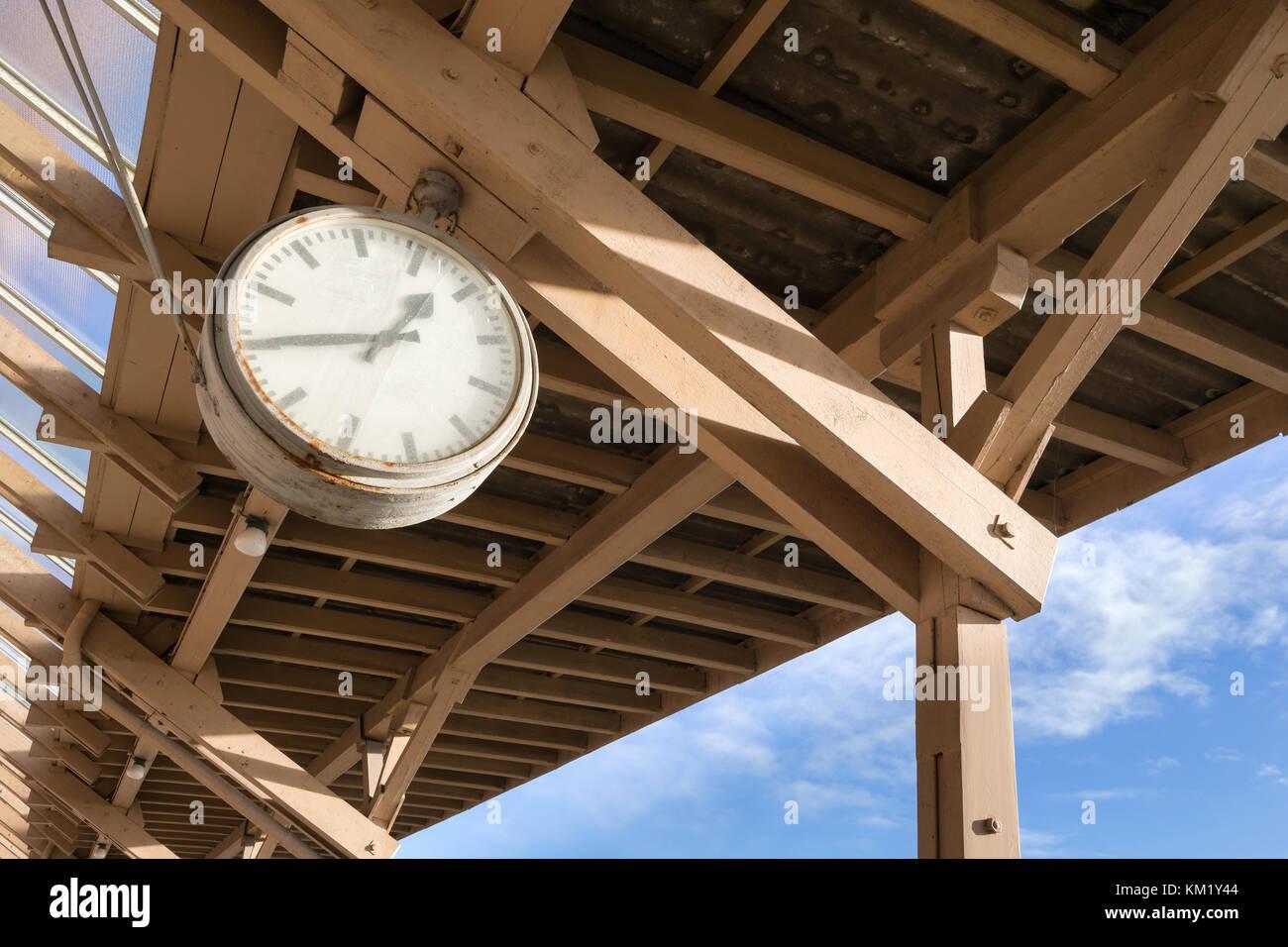 analog clock at historic station Stock Photo