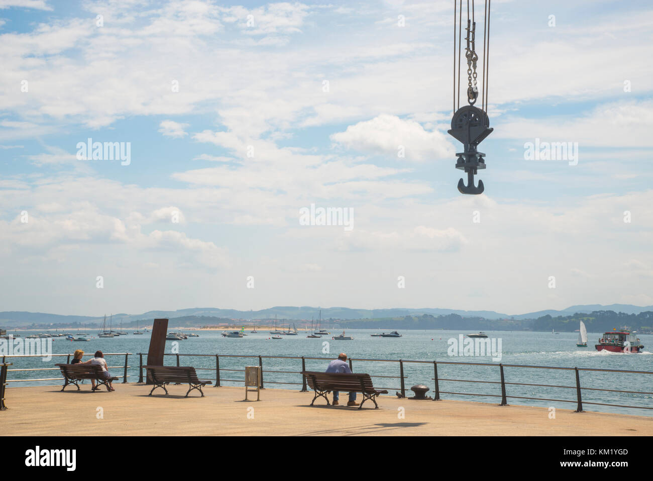 Viewpoint in the dock over the bay. Santander, Spain. - Stock Image