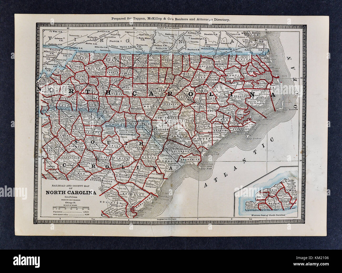 George Cram Antique Map from 1866 Atlas for Attorneys and Bankers ...