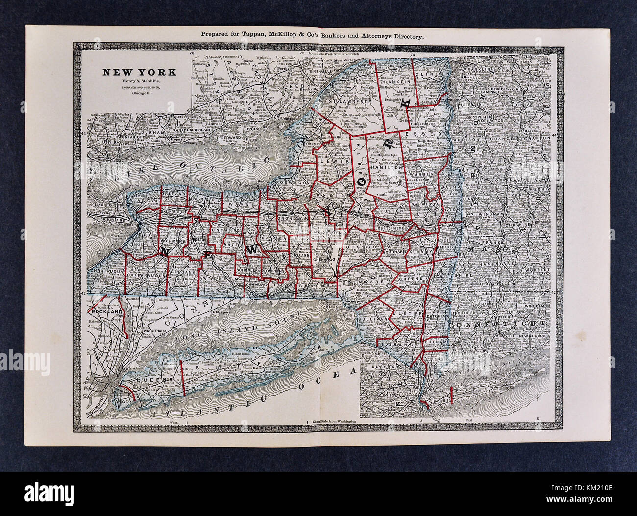 George Cram Antique Map from 1866 Atlas for Attorneys and Bankers: United States - New York - NY City Albany Buffalo - Stock Image