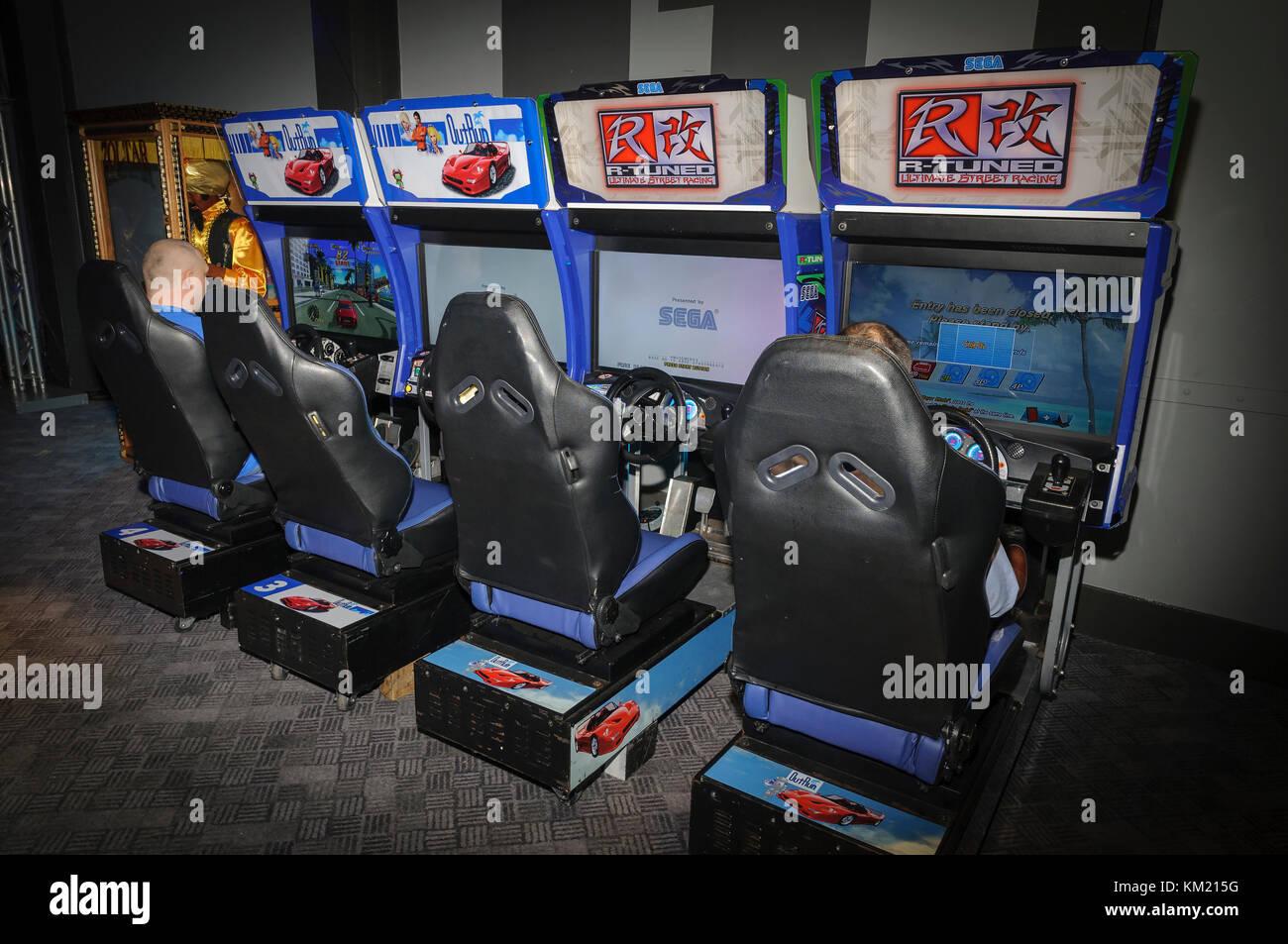 Arcade driving game machines - Stock Image