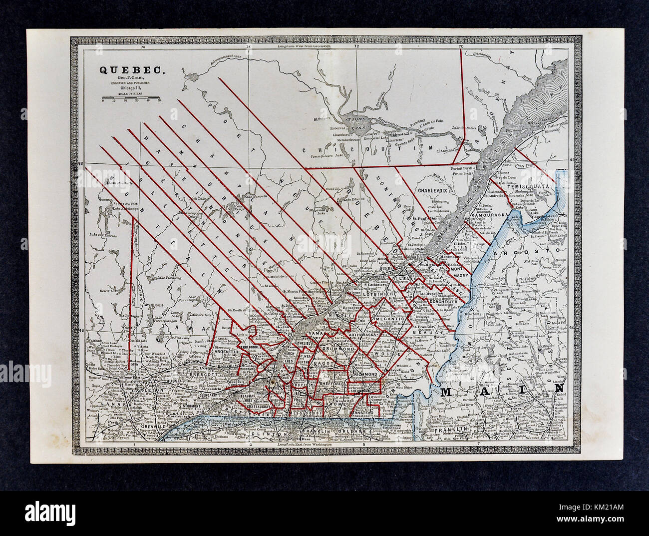 George Cram Antique Map from 1866 Atlas for Attorneys and Bankers: Quebec Canada - Montreal Quebec City St. Lawrence - Stock Image