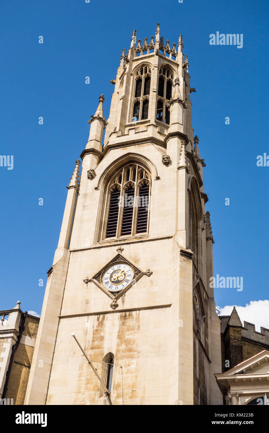 Spire of 19th Century neo-gothic St Dunstan-in-the-West church by John Shaw Sr, Fleet Street, City of London, UK - Stock Image