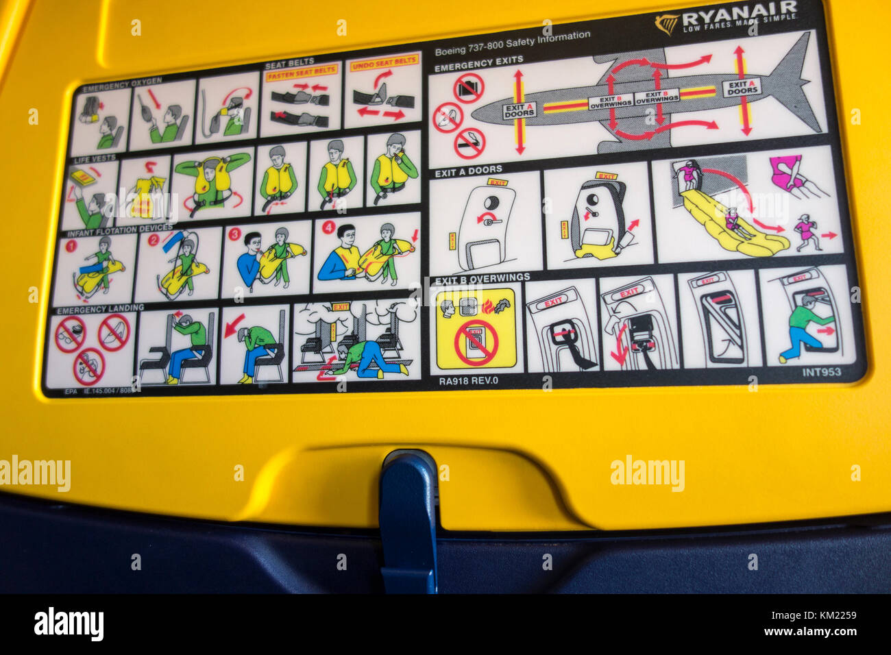 Ryanair aeroplane airplane safety information card printed on the back of a seat - Stock Image