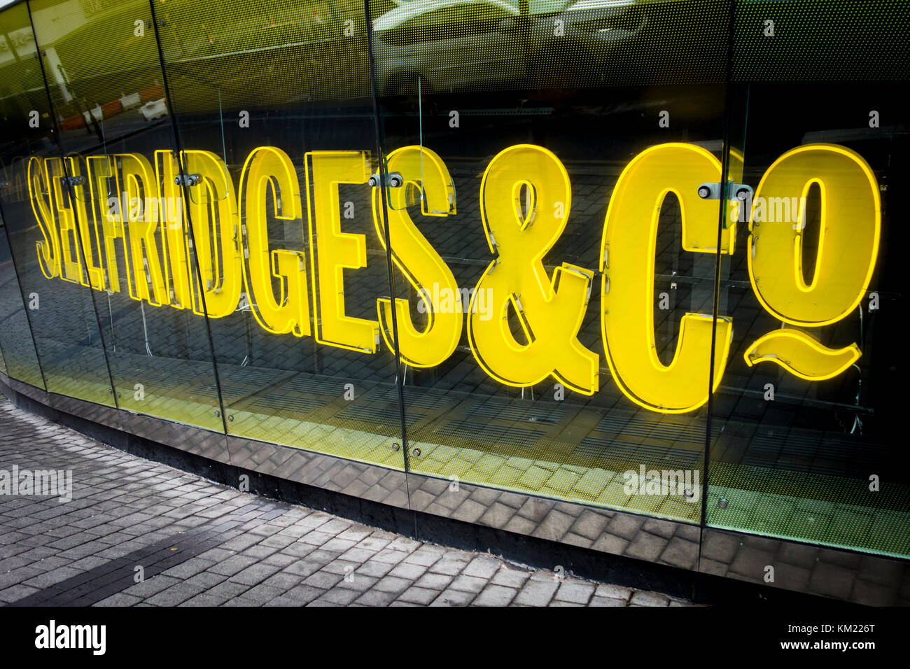 Logo and sign outside Selfridges & Co building by architects Future Systems, part of the Bullring Shopping Centre - Stock Image