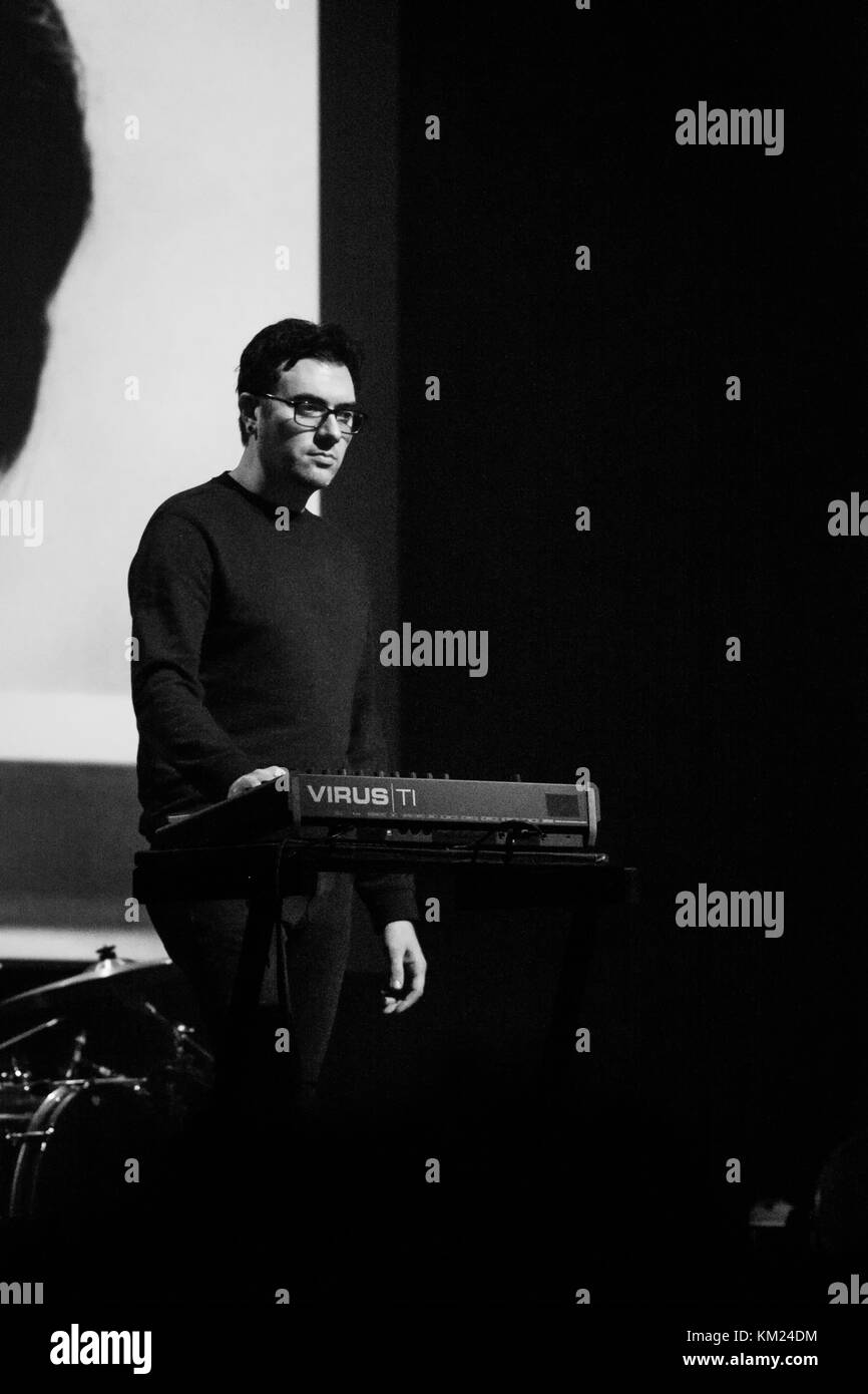 Milan, Italy. 1st December, 2017. Phillip Tubbs (Cigarettes after Sex) plays keyboards during a live performance. Stock Photo