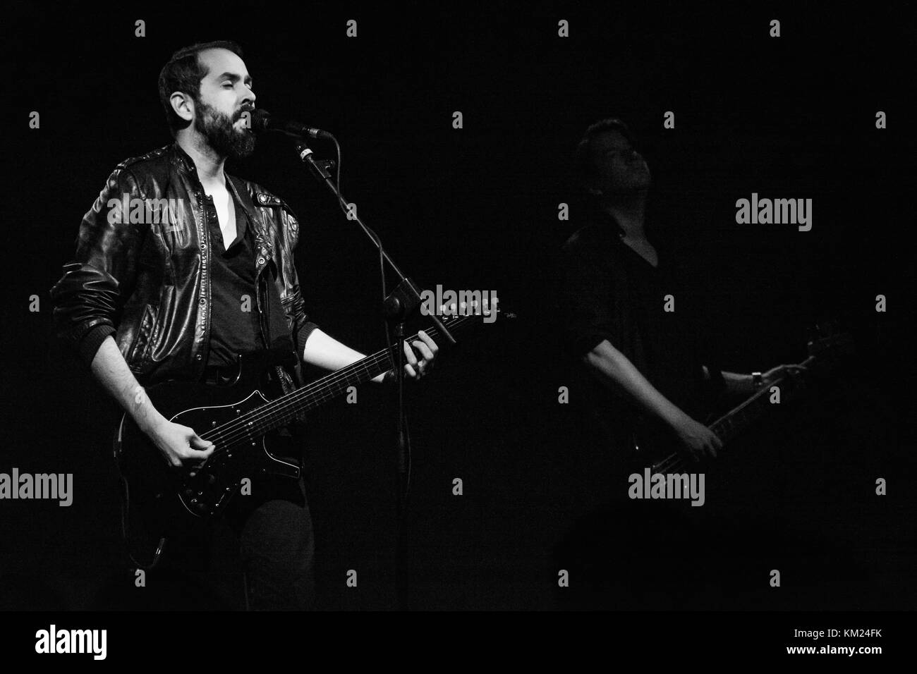 Milan, Italy. 1st December, 2017. Greg Gonzalez and Randy Miller (Cigarettes after Sex) plays guitar and bass during Stock Photo