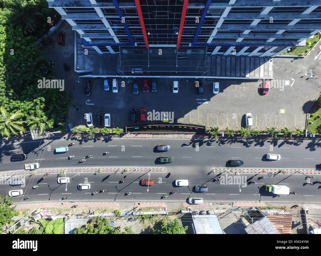 The traffic and parking lot in the city of Makassar - South Sulawesi - Stock Image