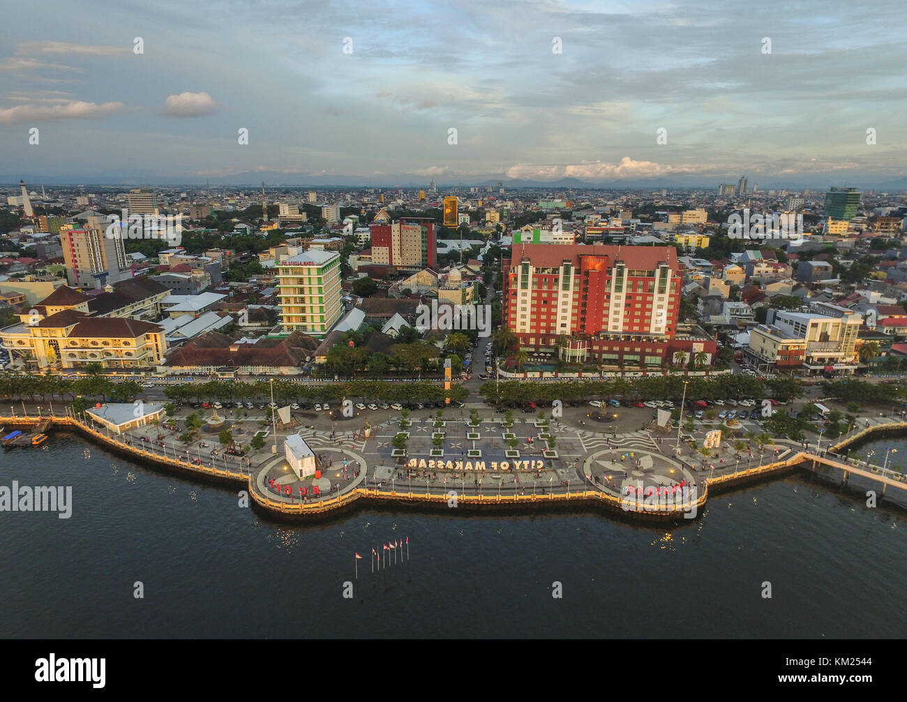 Losari Beach the icon for the City of Makassar taken a moment before the sunset. - Stock Image