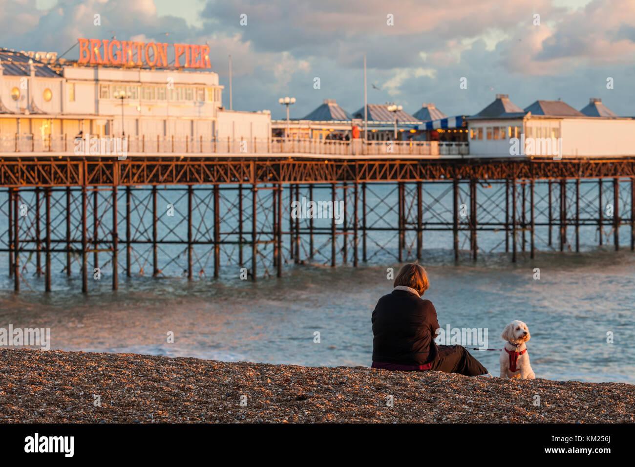 Autumn sunset on Brighton beach, East Sussex, England. - Stock Image
