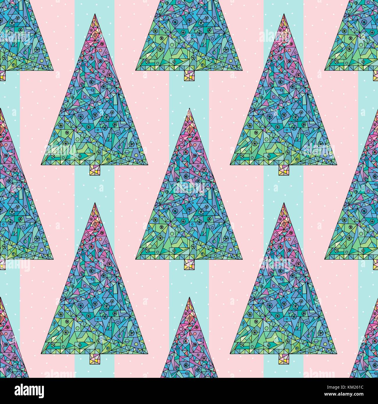 Christmas trees pattern. Happy New Year seamless background. Winter holidays stylish vector texture for wallpaper, Stock Vector