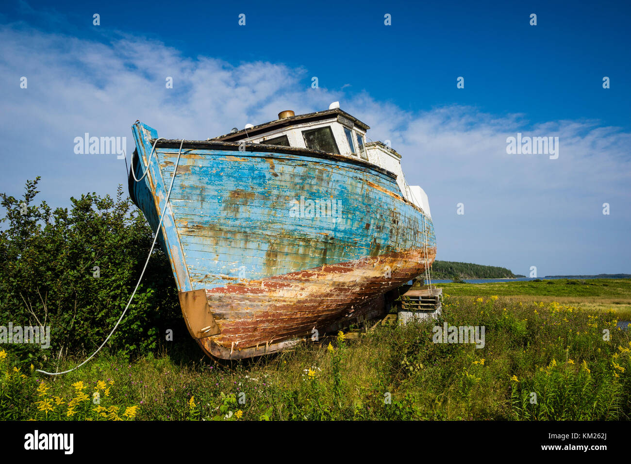 Abandoned fishing boat on the shore at Marie Joseph on the Eastern