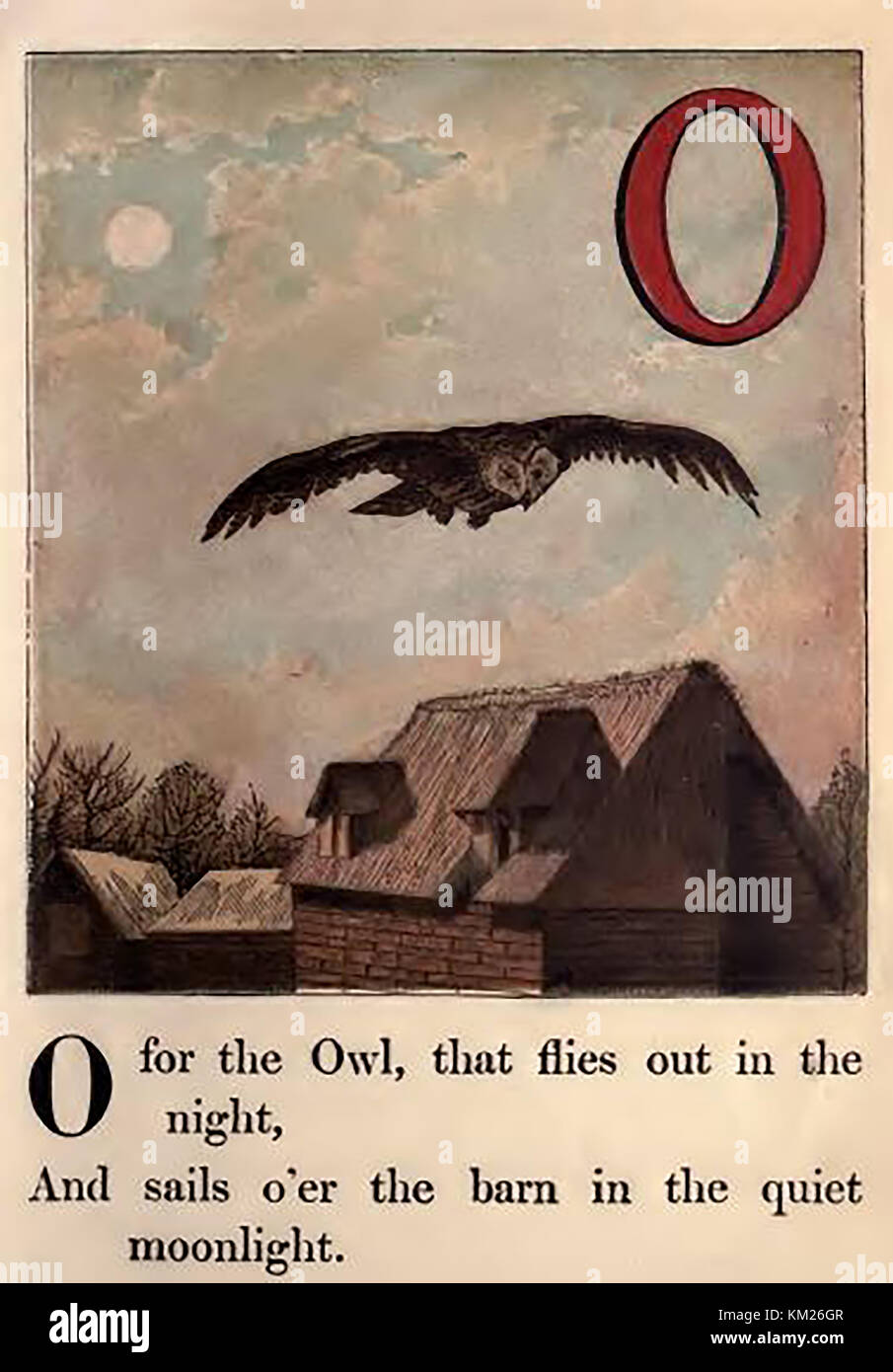 An historic  coloured Victorian children's ABC book illustration - O for Owl flying over the barn on a farm - Stock Image