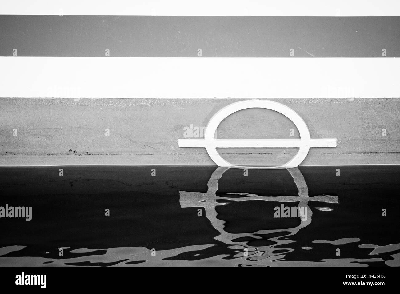 Plimsoll marking on the waterline of a ship. - Stock Image