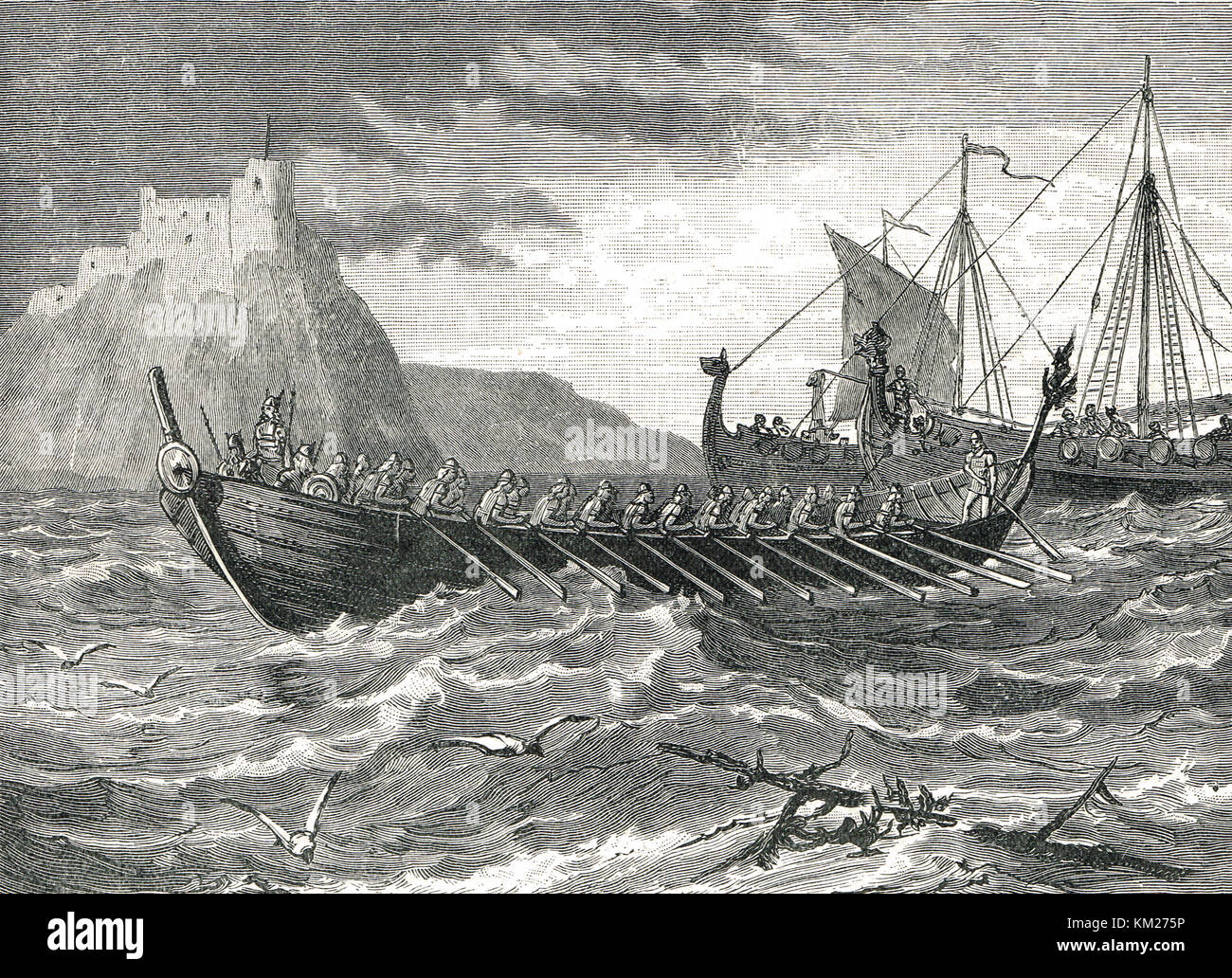 Danish Viking ships of the 9th century - Stock Image