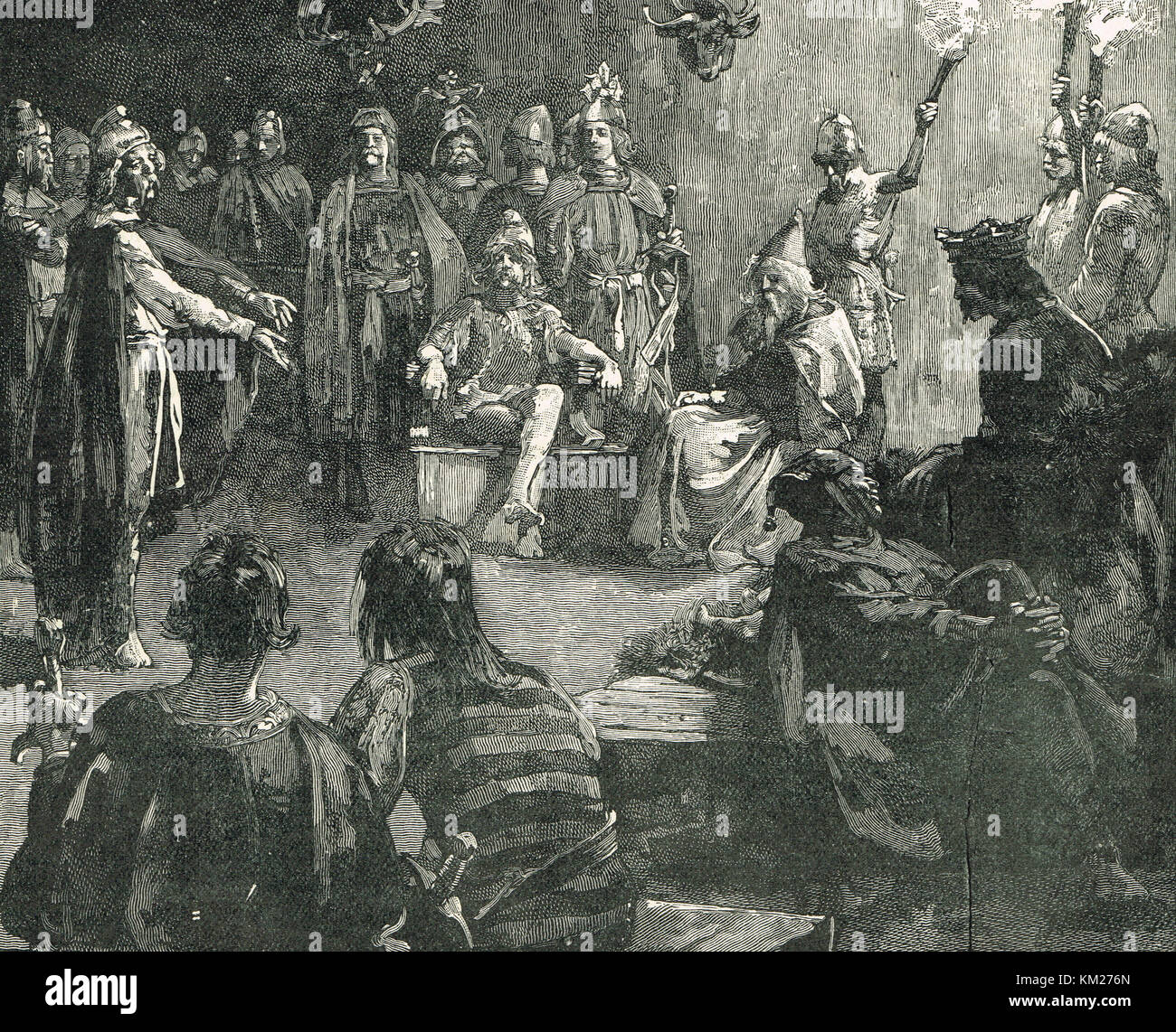 Edwin of Northumbria, meeting with the Christian missionaries Stock Photo