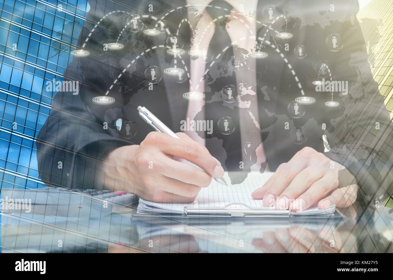 Businessman analyze information over the Worldwide connection technology interface, Elements of this image furnished - Stock Image