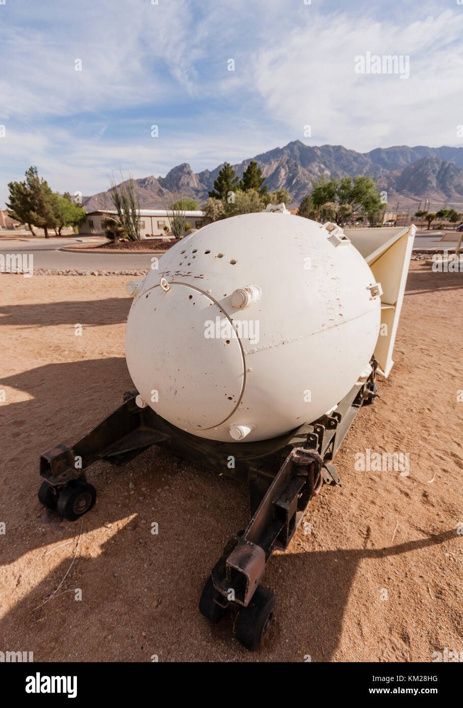 Fat Man atomic bomb on display at White Sands Missile Range, New Mexico, USA - Stock Image