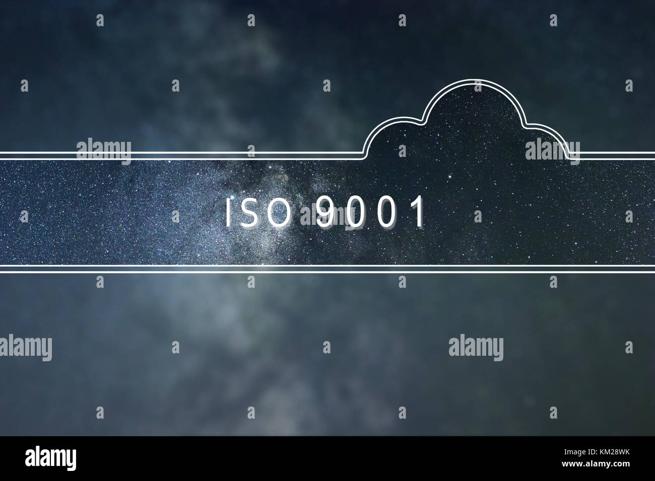 ISO 9001 word cloud Concept. Space background. - Stock Image