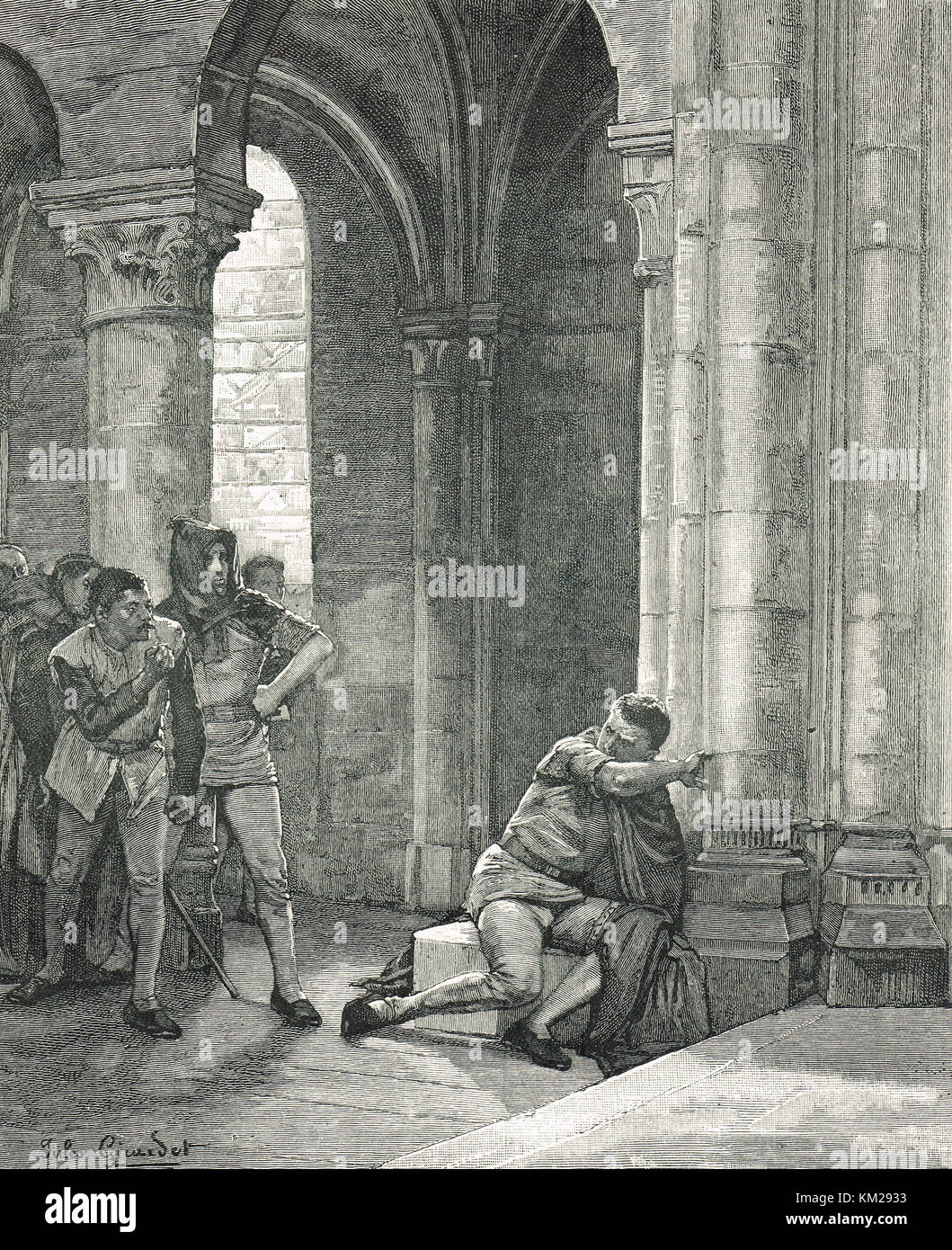 Taking Sanctuary in the middle ages - Stock Image