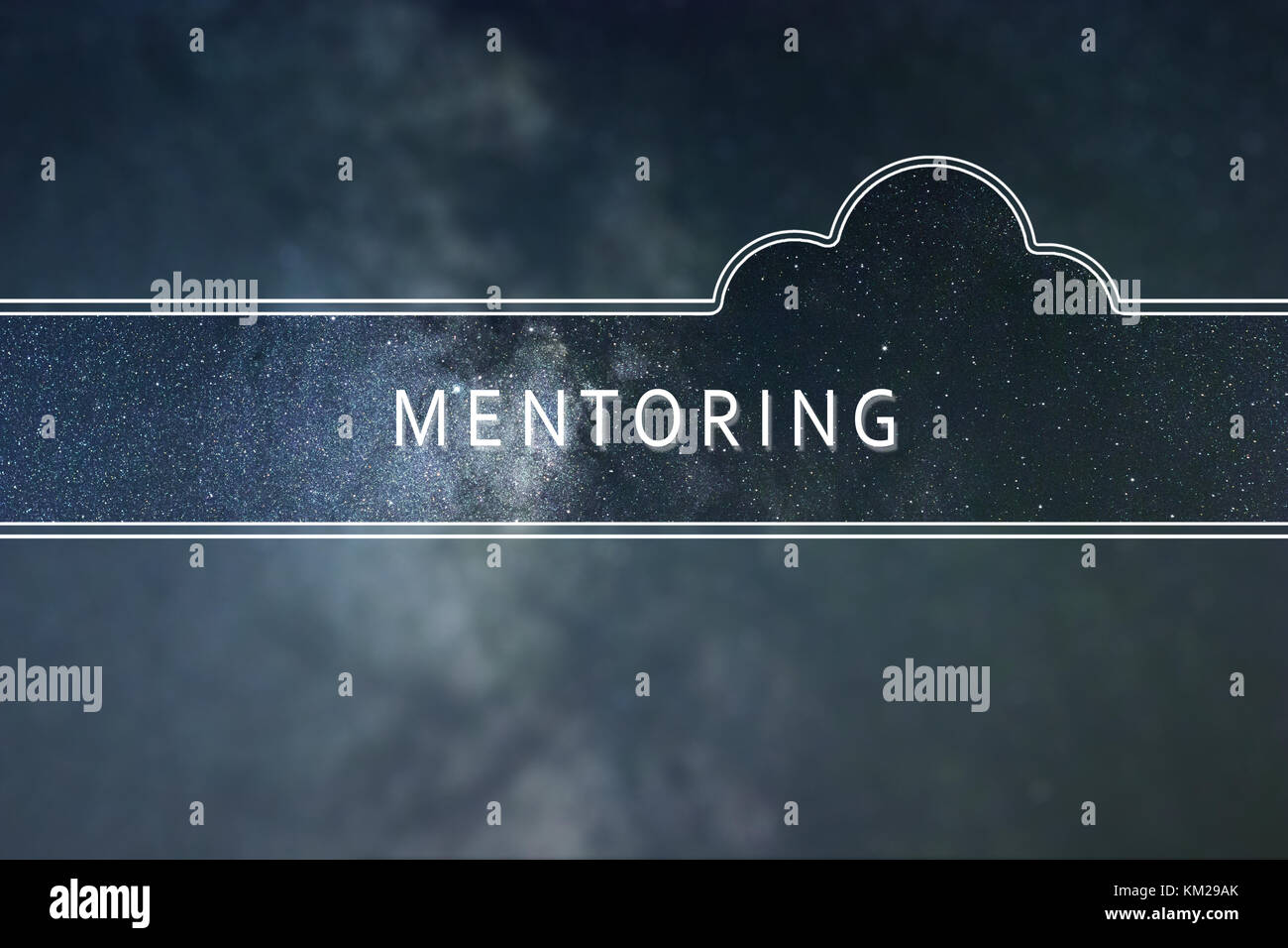 MENTORING word cloud Concept. Space background. - Stock Image