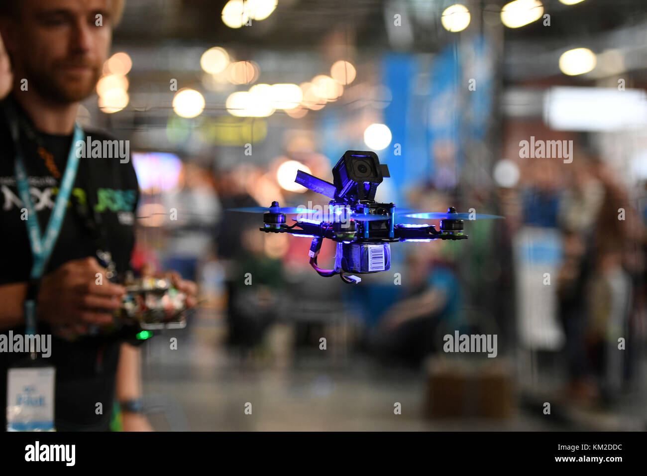 Berlin, Germany. 02nd Dec, 2017. A race drone photographed in the racetrack during the Drone Champions League (DCL) - Stock Image