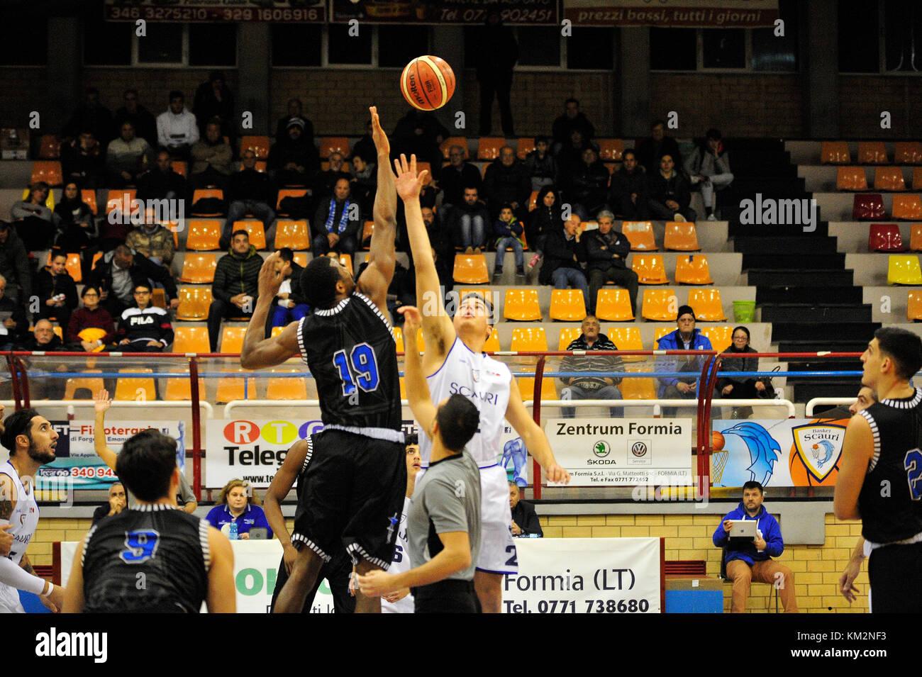 Minturno, Italy. December 3, 2017. Basketball game Basket Scauri against Basket Stella Azzurra Roma, Italian National Stock Photo