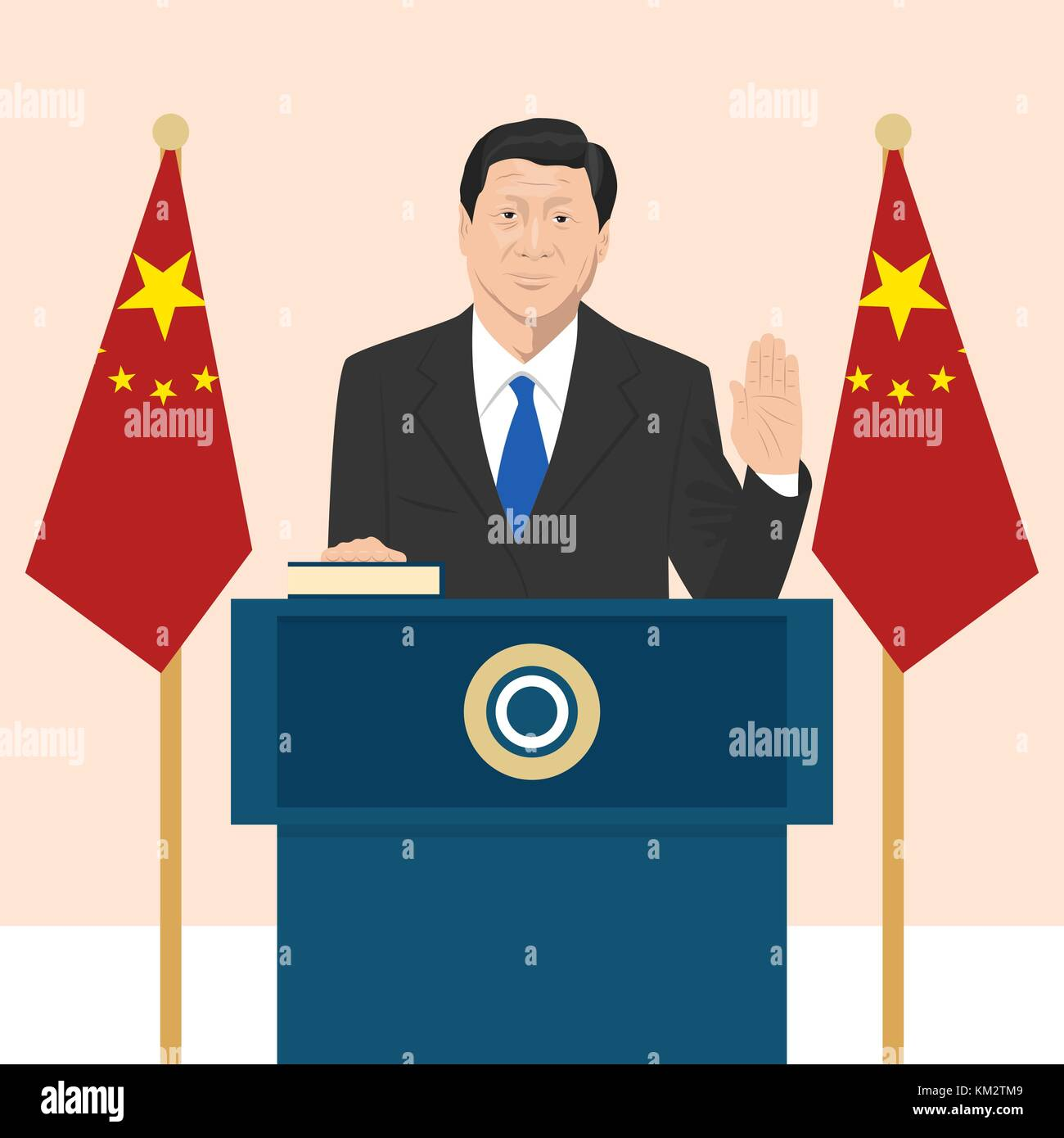 02.12.2017 Editorial illustration of the President of People s Republic of China Xi Jinping that is taking an oath - Stock Vector
