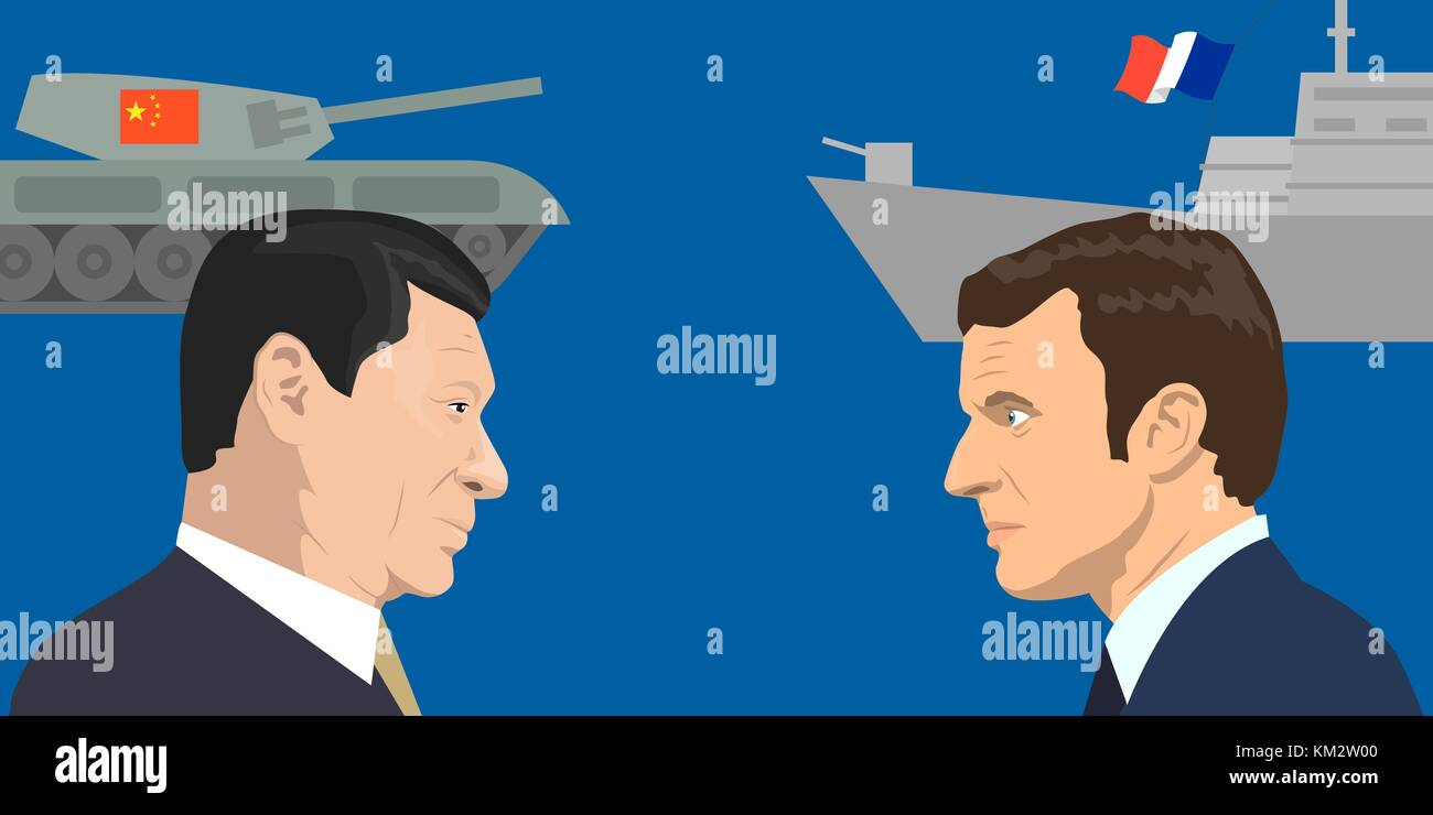 02.12.2017 Editorial illiustration of the French Republic President Emmanuel Macron and the President of People - Stock Vector