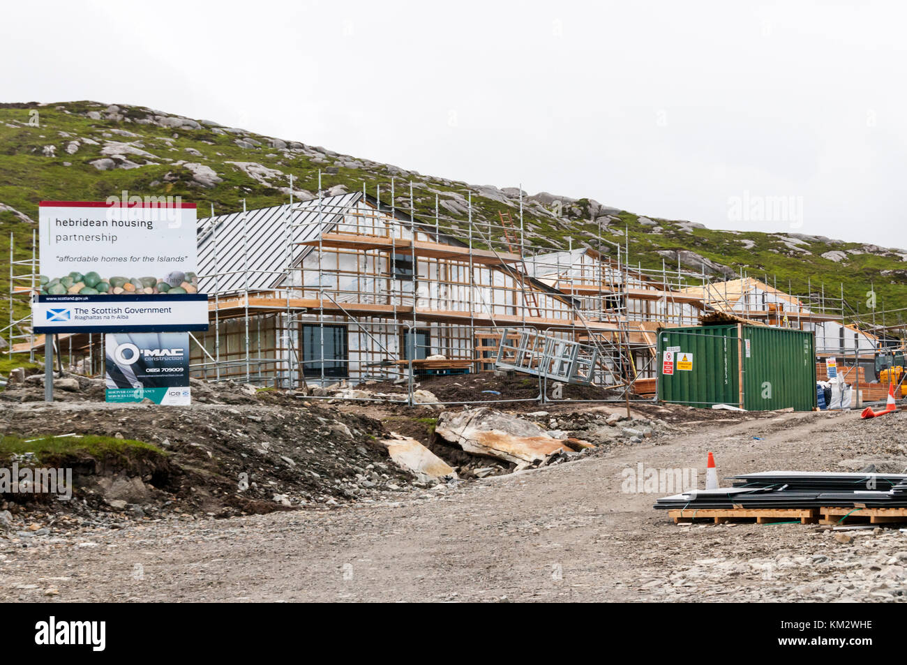Affordable homes being built for Hebridean Housing Partnership at Pairc Niseaboist, Horgabost on the west coast - Stock Image