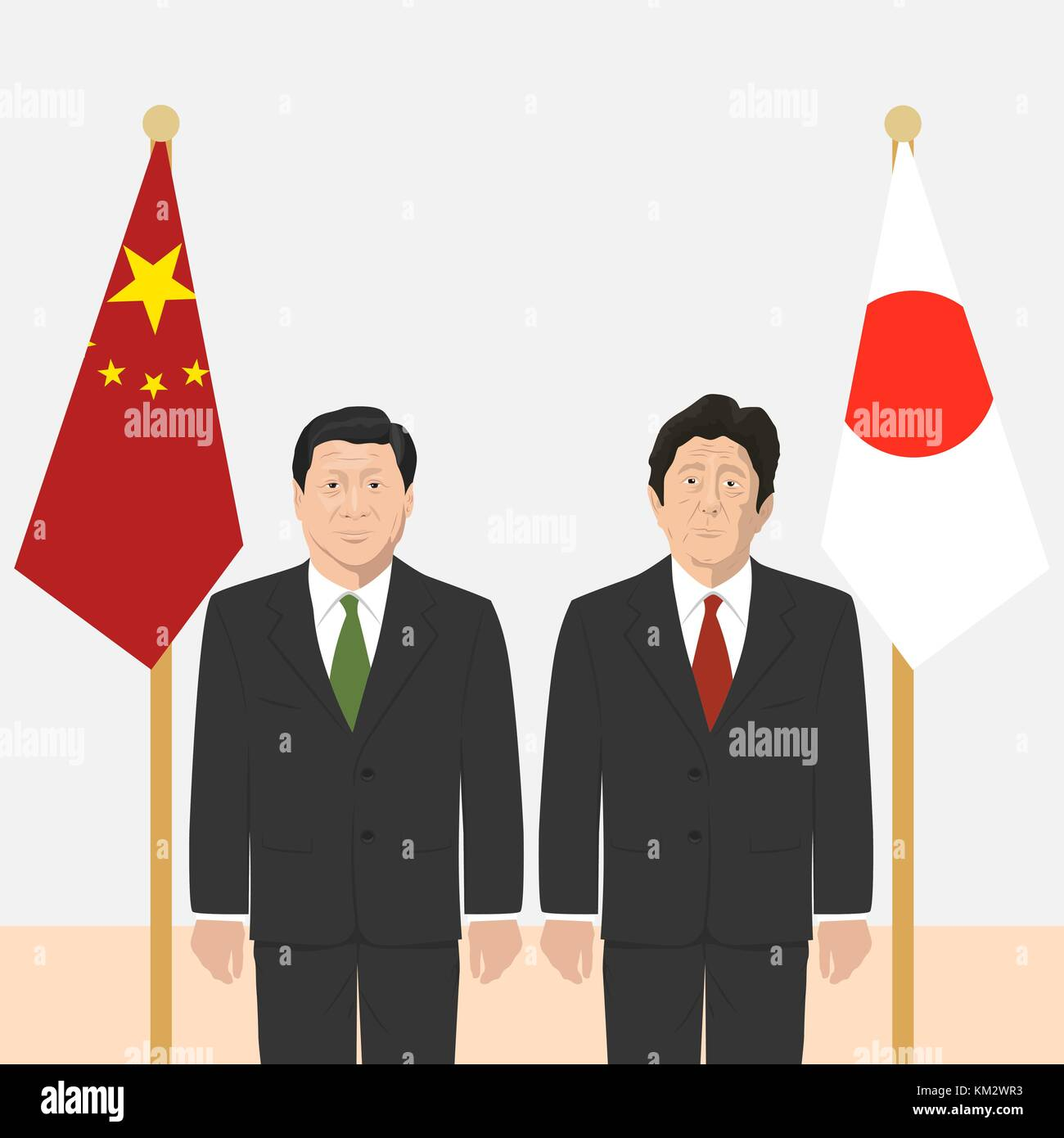 03.12.2017 Editorial illustration of the Prime Minister of Japan Shinzo Abe and the President of People s Republic - Stock Vector