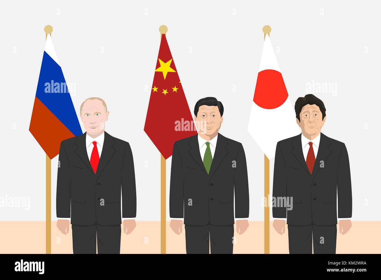 03.12.2017 Editorial illustration of the Russian Federation President Vladimir Putin, the Prime Minister of Japan - Stock Vector