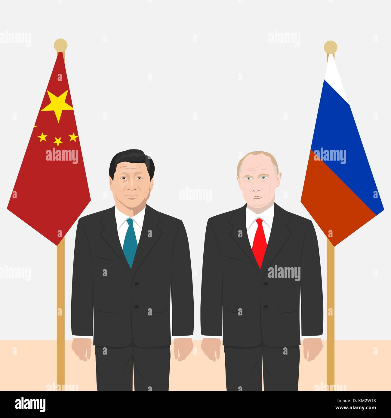 03.12.2017 Editorial illustration of the President of People s Republic of China Xi Jinping and the Russian Federation - Stock Vector