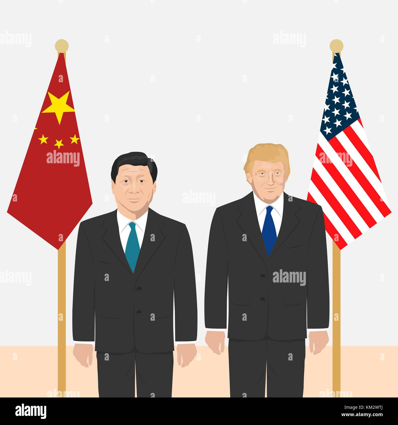 03.12.2017 Editorial illustration of the President of People s Republic of China Xi Jinping and the USA President - Stock Image