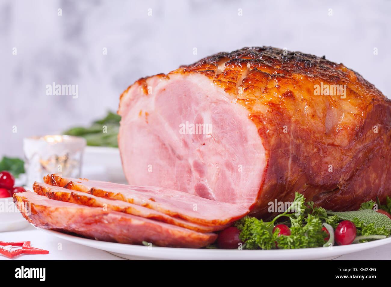 Christmas Roasted glazed holiday pork ham - Stock Image