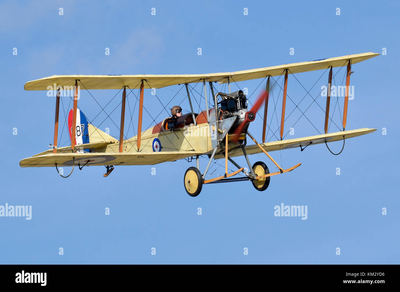 Royal Aircraft Factory BE2c WW1 biplane in RFC markings, Great War Display Team, displaying at Duxford, UK. The - Stock Image