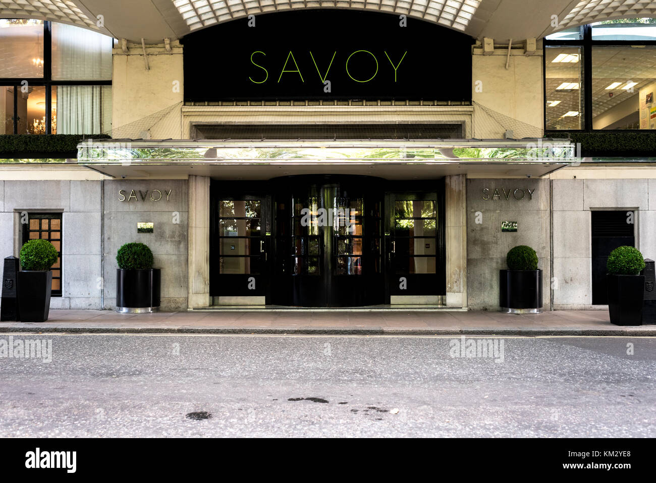 View of the rear entrance to the Savoy Hotel, London - Stock Image