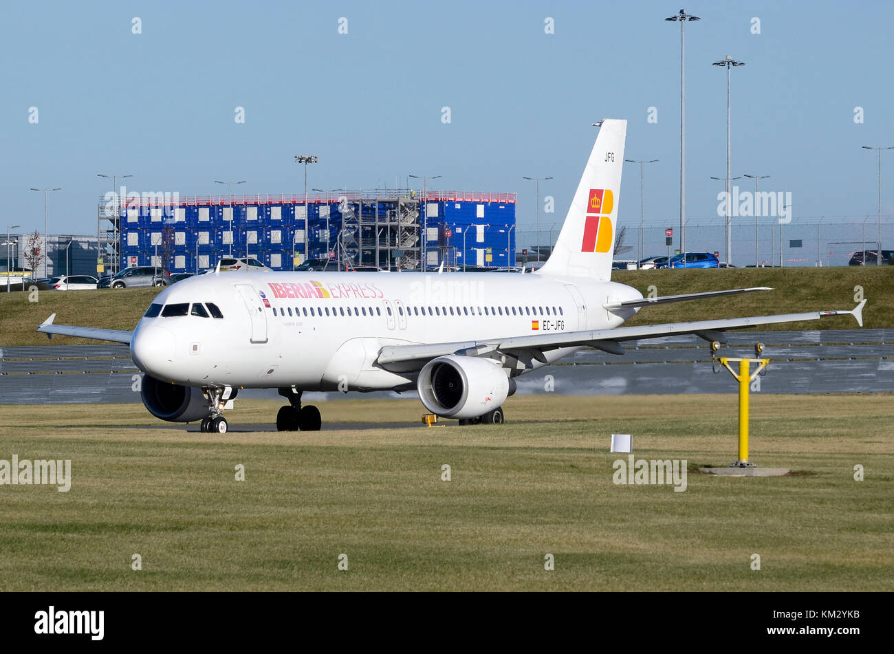 Airbus A320, Iberia Express, Birmingham Airport, UK. Airbus A320-214 EC-JFG is seen taxiing to take-off. - Stock Image