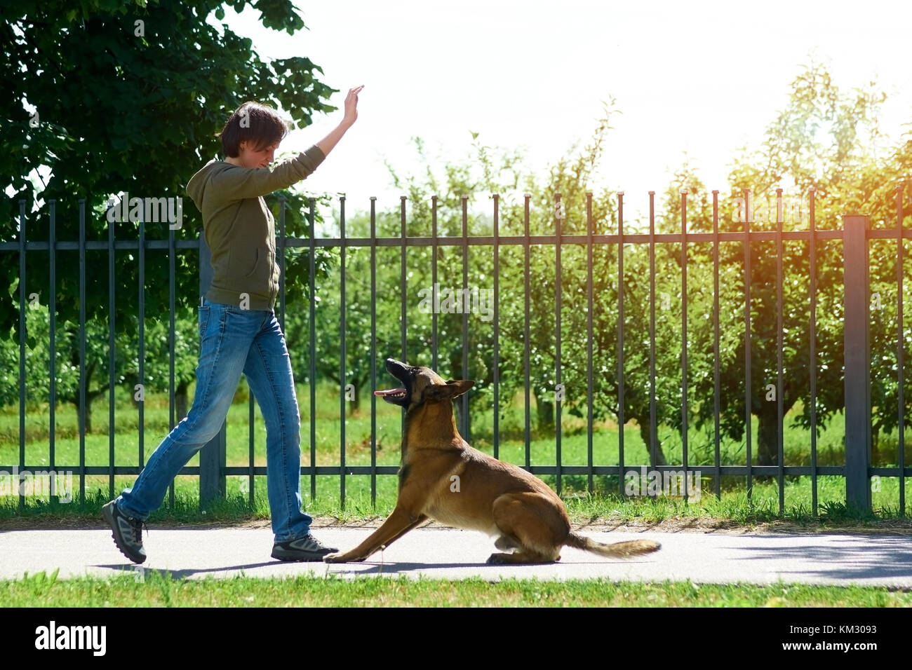 The woman is raising her right hand up to make her dog jump. - Stock Image