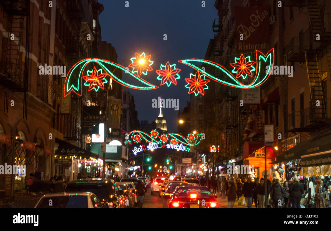 Colorful Christmas lighting on Mulberry Street  in Little Italy, New York City -- Empire State Building seen in Stock Photo