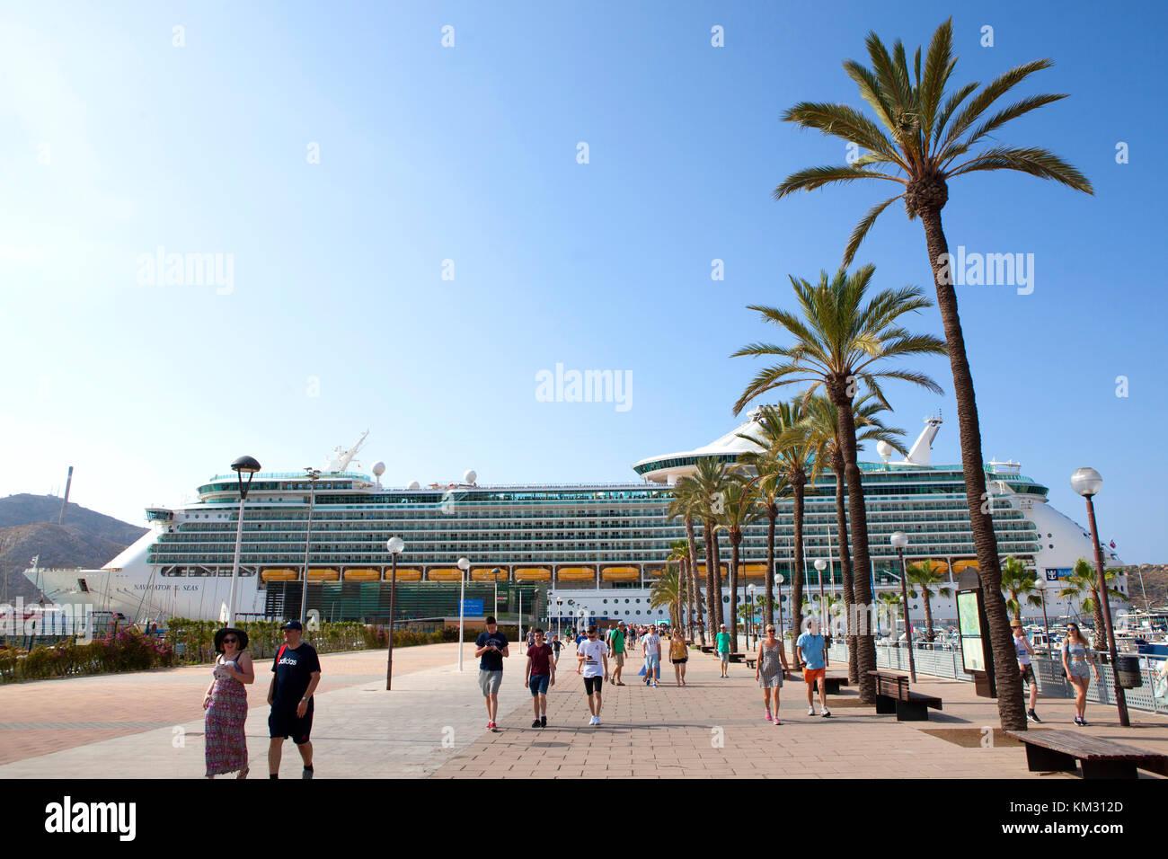 Royal Caribbean Navigator of the Seas cruise ship berthed at Cartagena city in Spain - Stock Image