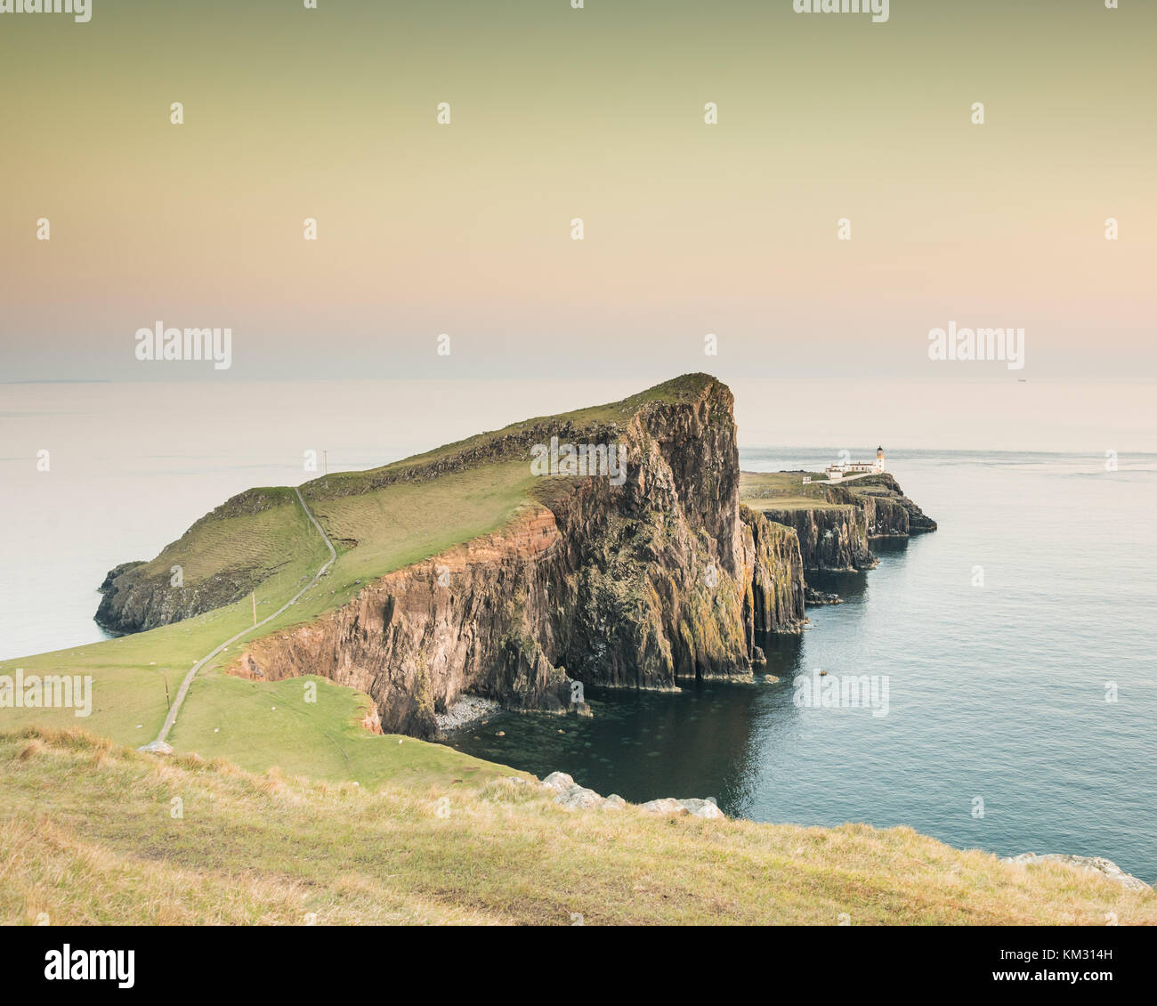 Neist Point - Isle of Skye's most famous lighthouse on a cliff - Stock Image