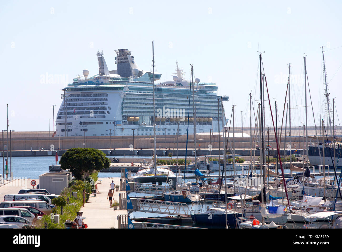 The Royal Caribbean Navigator of the Seas cruise ship berthed at Valencia Spain in Summer - Stock Image
